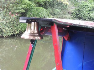 My bell on Wandering Canuck- not a usual accessory for canal boats!